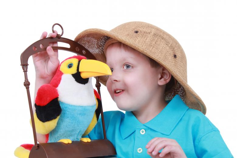 Free Stock Photo of Little boy talks to a bird Created by Val Lawless
