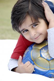Cute Kid With Football - Free Stock Photo