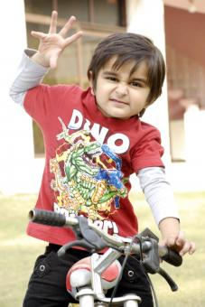Cute Baby Boy with Bicycle - Free Stock Photo