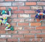 Free Photo - Frog and Lizard on Brick Wall