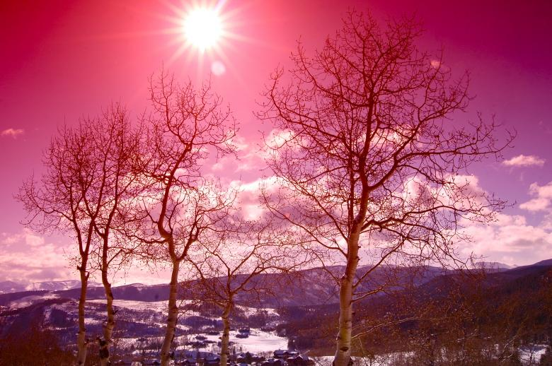 Free Stock Photo of Sun Shines over a Pink Winter Mountain Created by Chance Buell