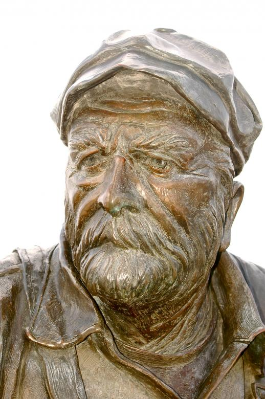 Free Stock Photo of Old Man Sailor Captain in Bronze Created by Chance Buell