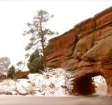 Free Photo - Tunnel through the Snowy Red Rocks