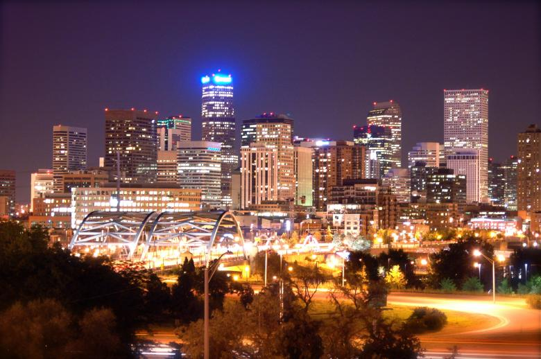Free Stock Photo of Denver Skyline at Night (Historical) Created by Chance Buell
