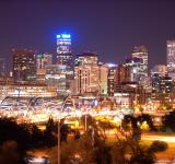 Free Photo - Denver Skyline at Night (Historical)
