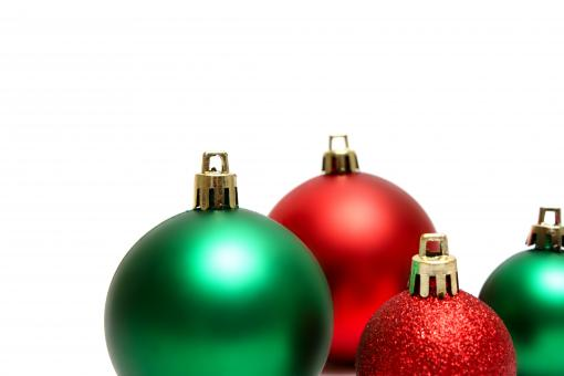 Green and red Christmas ornaments isolat - Free Stock Photo