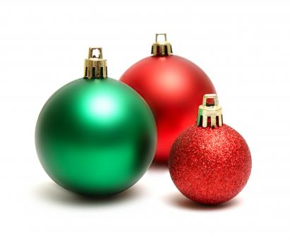 Green and red Christmas ornaments - Free Stock Photo
