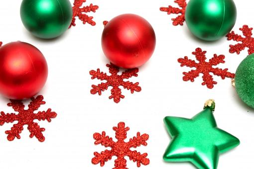 Red and green Christmas ornaments - Free Stock Photo
