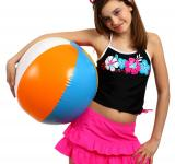 Free Photo - A young girl posing with a beach ball