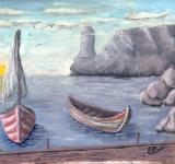 Free Photo - Seaport Painting