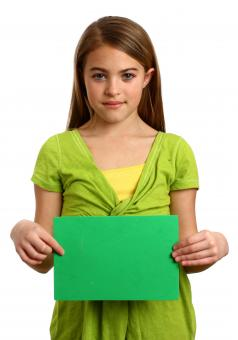 A young girl holding a blank sign - Free Stock Photo