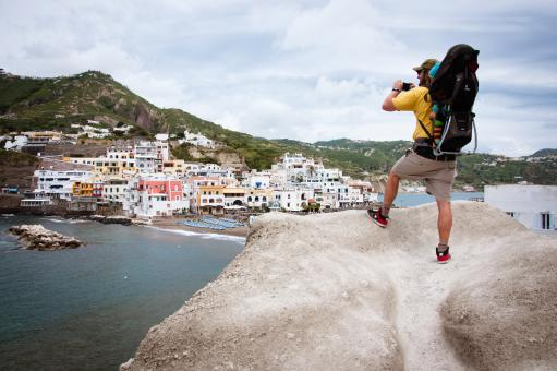 Backpacker with baby at S.Angelo Ischia - Free Stock Photo