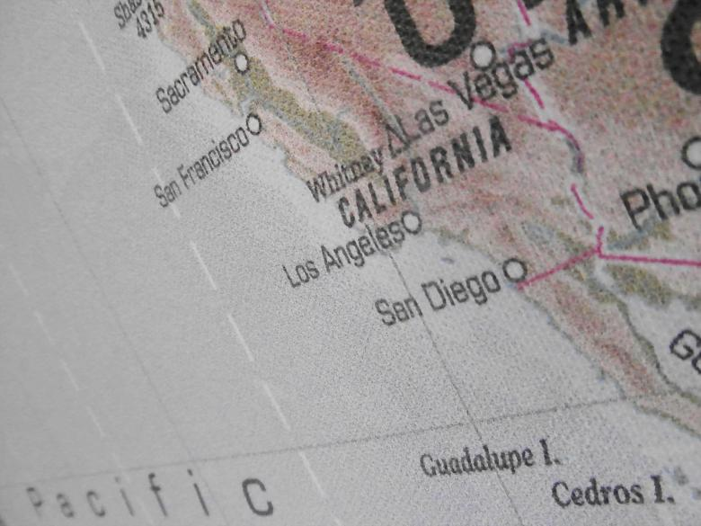 Free Stock Photo of West Coast USA Map Created by Ivan