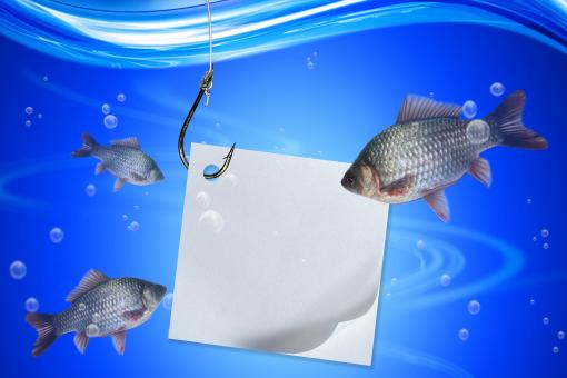 Fishing line and hook with paper - Free Stock Photo