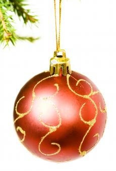 Christmas ball on branch - Free Stock Photo