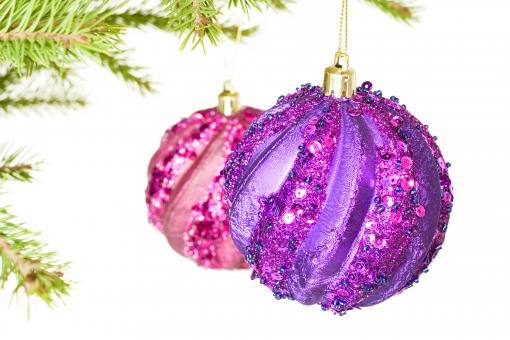 Christmas ball on green branch - Free Stock Photo