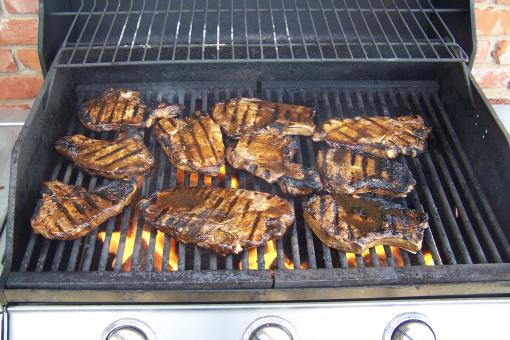 Spicy Pork Chops on Grill 1 - Free Stock Photo