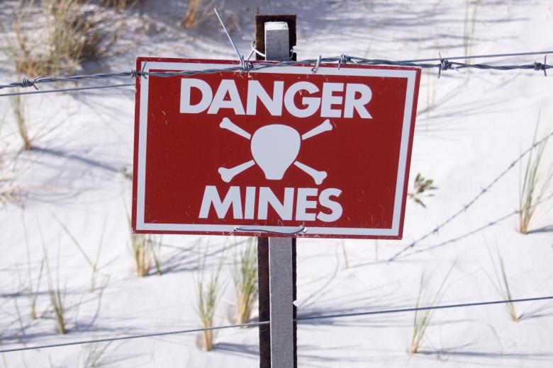 Free Stock Photo of Danger - Land Mine sign in the Falklands Created by Merelize