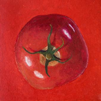 Acrylic painting of a red tomatoe - Free Stock Photo