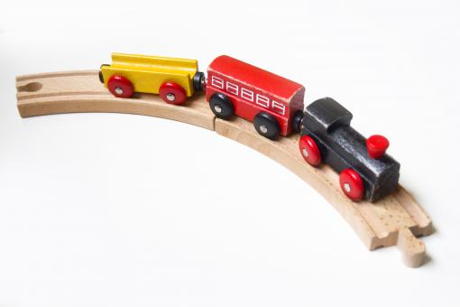 Wooden toy train with wagons - Free Stock Photo