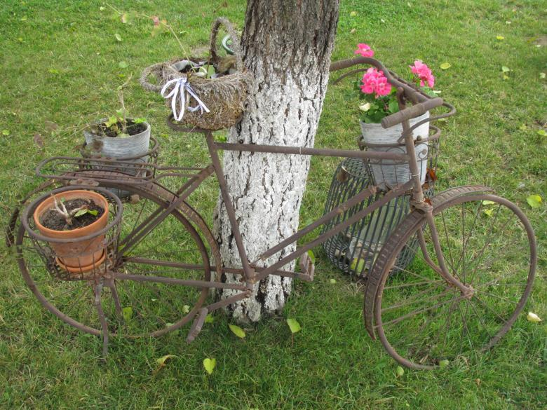 Free Stock Photo of Old rusty bike with flower pots Created by Boris Kyurkchiev