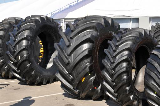Row of tractor tyres - Free Stock Photo