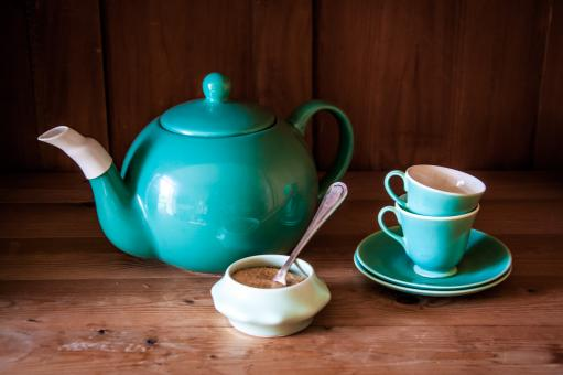 Set turquoise cups, sugar and teapot - Free Stock Photo