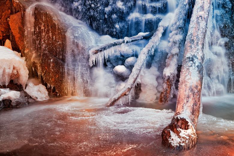 Frozen Avalon Fantasy Falls - HDR - Free Abstract Winter Stock Photos