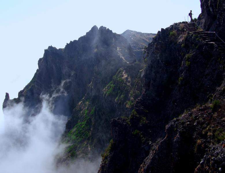 Free Stock Photo of Hiker silhouette near the precipice Created by Jack Moreh