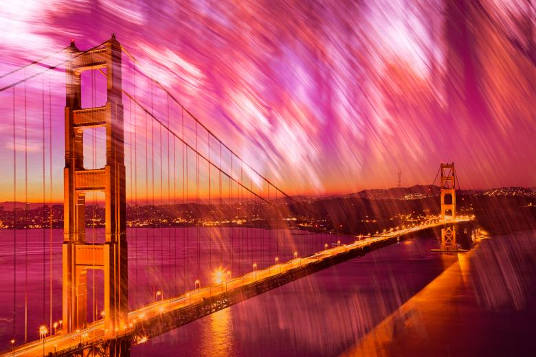 Passion Gate Bridge - Free Multiple Exposure Stock Photos