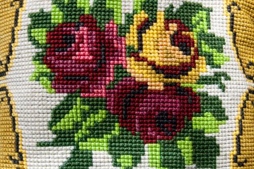 Vintage fower fabric embroidery - Free Stock Photo