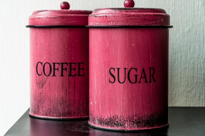 Free Stock Photo of Antique coffee and sugar Canisters