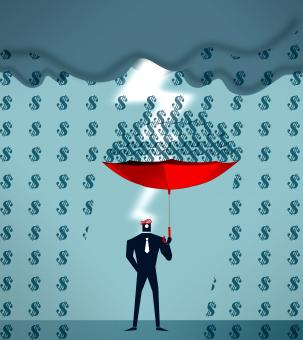 Businessman collecting raining dollars - Free Stock Photo