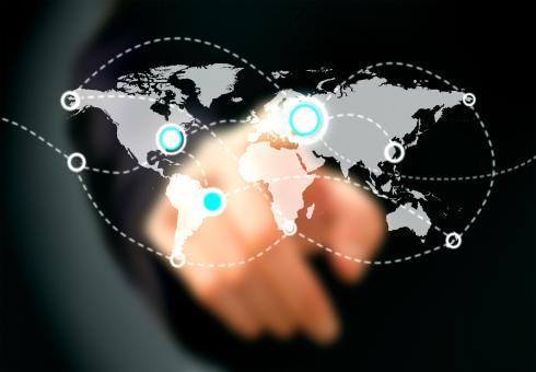 Businessman touching virtual screen - Free Stock Photo