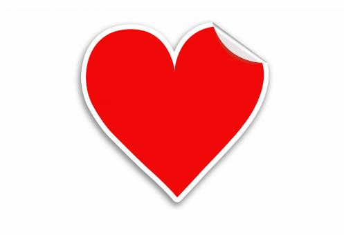 Red Heart Sticker Valentines day - Free Stock Photo