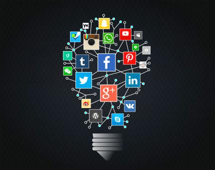 Social Networks Idea with Lightbulb - Free Stock Photo