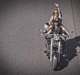 Free Photo - Biker waving on a chopper bike