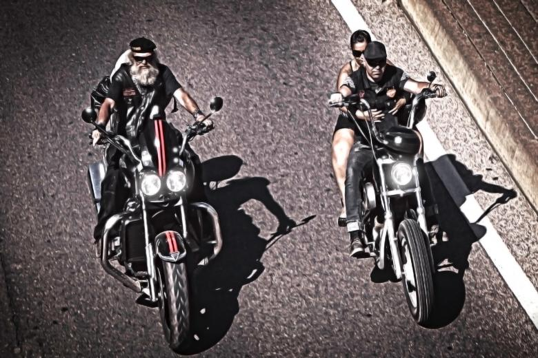 Free Stock Photo of Two generations of bikers riding chopper Created by Jack Moreh