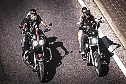 Two generations of bikers riding chopper - Free Stock Photo