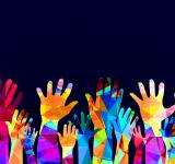 Free Photo - Colorful hands up - happiness or help