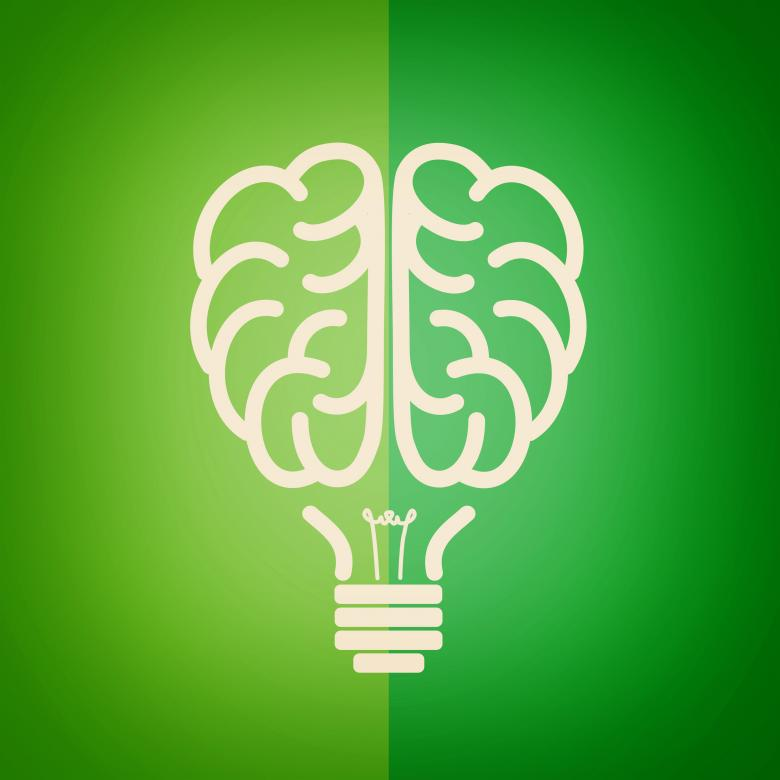 Green lightbulb brain - Green concept - Free Environmental Stock Photos