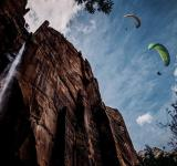 Free Photo - Paragliding over a waterfall