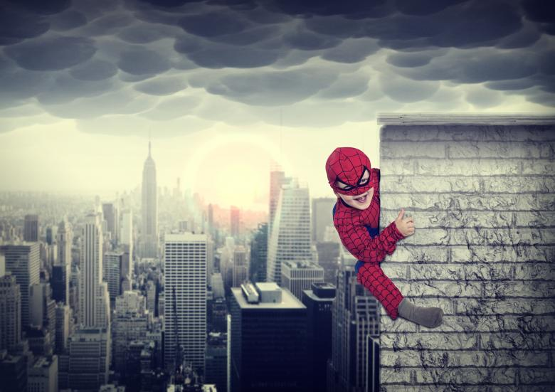 Free Stock Photo of Young boy dreams of being a superhero Created by Jack Moreh