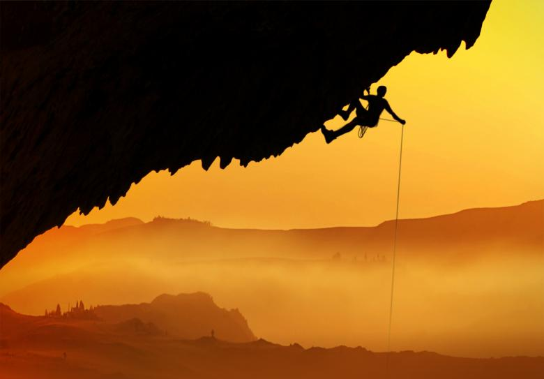 Free Stock Photo of Alpinist - Silhouette at dawn Created by Jack Moreh