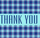 Free Photo - Aqua Daydream Plaid Postcard - Thank you