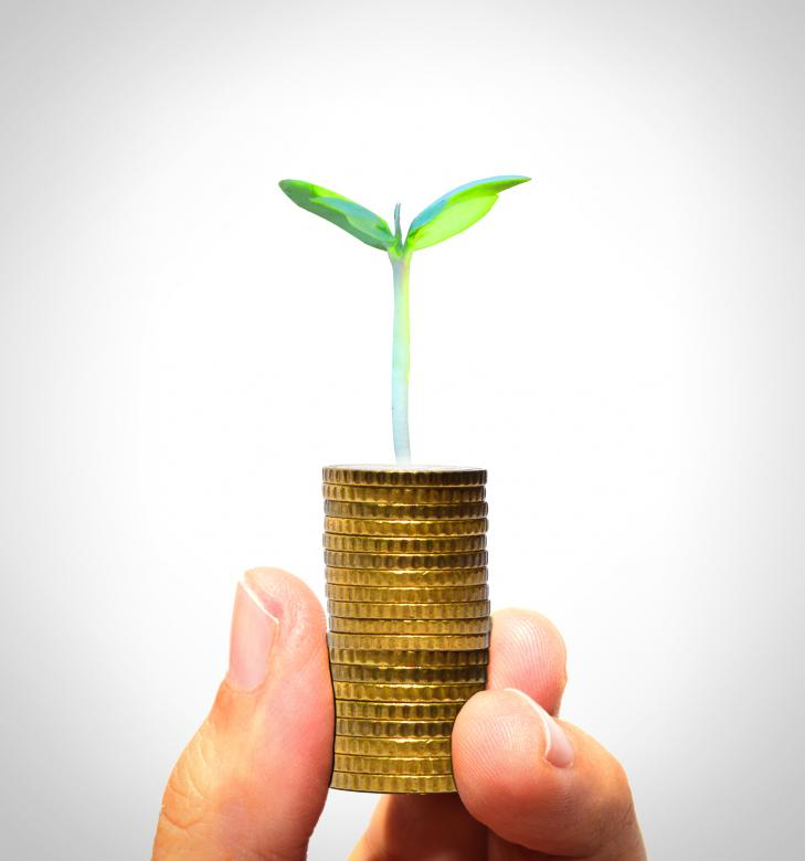 Free Stock Photo of Businessman holding plant sprouting from a handful of golden coins Created by Jack Moreh