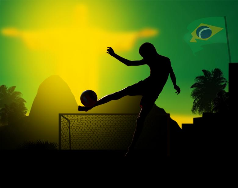 Free Stock Photo of Illustration of a kid playing soccer in Rio de Janeiro Created by Jack Moreh
