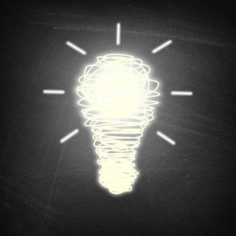 Free Stock Photo of Lightbulb idea on chalkboard background Created by Jack Moreh