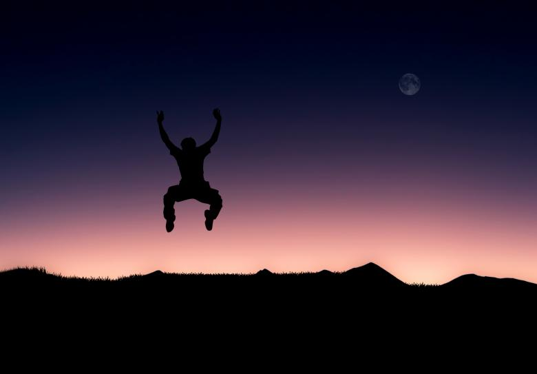 Free Stock Photo of Illustration of a man jumping full of joy Created by Jack Moreh