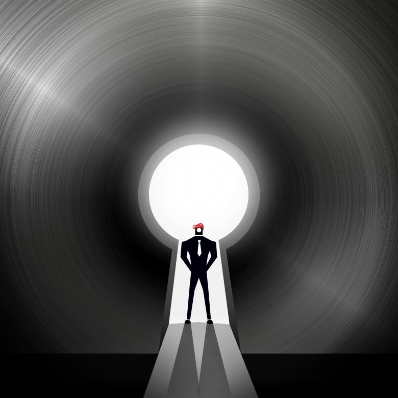 Free Stock Photo of Businessman through the keyhole - Creative solutions concept Created by Jack Moreh